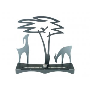 Hanukkah Menorah with Acacia Tree Deer and Bird, Gray - Shraga Landesman