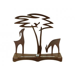 Hanukkah Menorah with Acacia Tree Deer and Bird, Bronze - Shraga Landesman