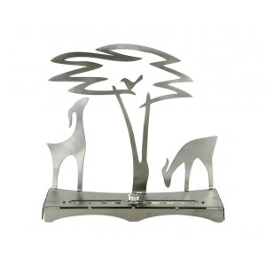 Hanukkah Menorah with Acacia Tree Deer and Bird, Silver - Shraga Landesman