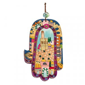 Hand Painted Wood Wall Hamsa, Colorful Jerusalem - Yair Emanuel