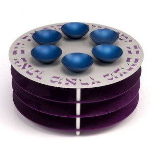 Purple Three Tier Seder and Matzah Plate - Agayof