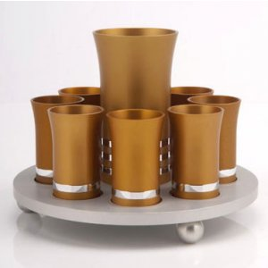Agayof Kiddush Cup Set - Gold Color