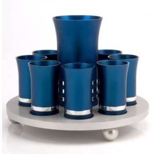 Kiddush Cup Set in blue Silver by Agayof