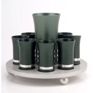 Agayof Kiddush Cup Set in Green and Silver