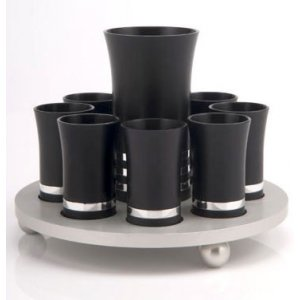 9 Cup Kiddush Cup Set by Agayof- Black and Silver