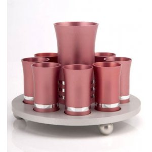 Rose Pink Agayof Kiddush Cup Set