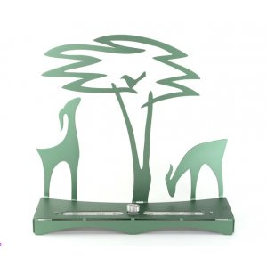 Hanukkah Menorah with Acacia Tree Deer and Bird, Green - Shraga Landesman