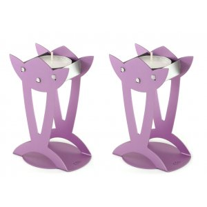 Flower Shaped Raised Candle Holders - Violet BY Shraga Landesman
