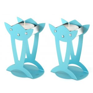 Flower Shaped Raised Candle Holders - Turquoise by Shraga Landesman