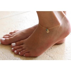 Gold-filled Anklet with Star of David and Sky Blue Bead by Gal Cohen