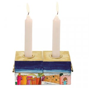 Two-In-One Menorah & Shabbat Candlesticks - Jerusalem by Yair Emanuel