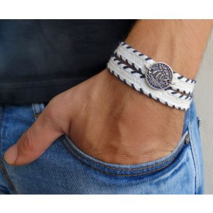 White with Navy Stitching Triple Wrap Men's Bracelet with Oxidized Silver-Plated Coin
