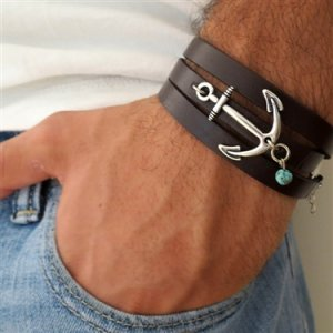 Chocolate Leather Triple Wrap Men's Bracelet with Oxidized Silver-Plated Anchor and Sky Blue Bead