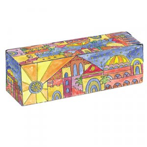 Hand Painted Wood Compact Hanukkah Menorah with Golden Jerusalem Images - Yair Emanuel