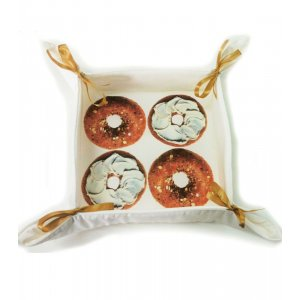 Bread Basket with Satin Bows and Beigel Design - Barbara Shaw