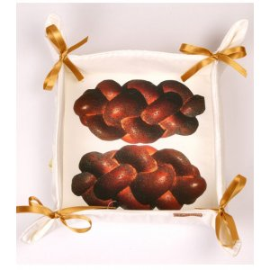 Bread Basket with Challah Loaves Design - Barbara Shaw