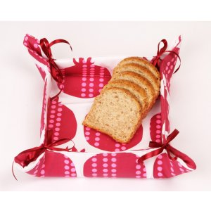 Bread Basket with Stain Bows, Red Pomegranate Design - Barbara Shaw