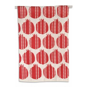 Red Linen Dish Towel with Pomegranates Design - Barbara Shaw