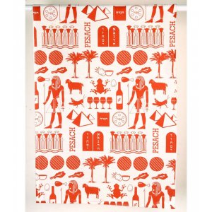 Pesach Dish Towel with Images Hieroglyphic style, Brick Red - Barbara Shaw