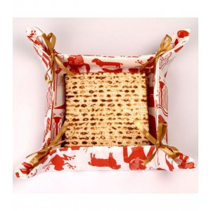 Matzah Basket with Satin Bows Pesach Images - Barbara Shaw