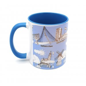 Coffee Mug with Famous Sights of Jerusalem, Blue - Barbara Shaw