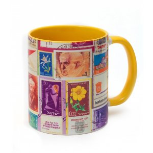 Coffee Mug with Colorful Israeli Stamp Collection - Barbara Shaw