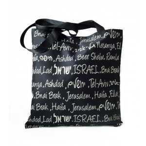 Canvas Tote Bag with Cities in Israel - Barbara Shaw