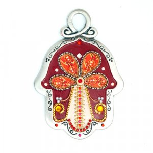 Ester Shahaf Red Flower Wall Hamsa
