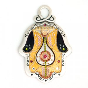 Ester Shahaf Gold and green Wall Hamsa