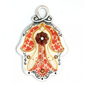 Intricate Red Design Wall Hamsa by Ester Shahaf