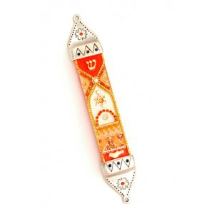 Flame Colors Pewter Mezuzah - Shahaf