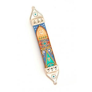 Colorful Mezuzah Case in Pewter and Wood by Ester Shahaf