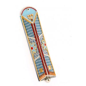 Ester Shahaf Blue Triangle Mezuzah Case