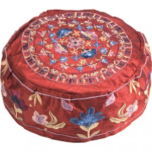 Embroidered Bucharian Hat Kippah on Rich Maroon, Floral Images - Yair Emanuel
