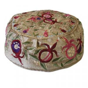 Embroidered Bucharian Hat Kippah on Gold, Pomegranates - Yair Emanuel