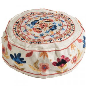 Hand Embroidered Bucharian Hat Kippah on Cream, Colorful Floral Design - Yair Emanuel