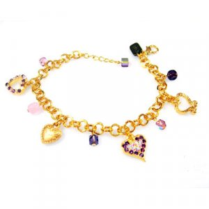 Purple and Pink Heart Charm Bracelet - Edita