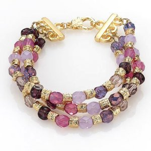 Edita Pink and Purple Bead Bracelet