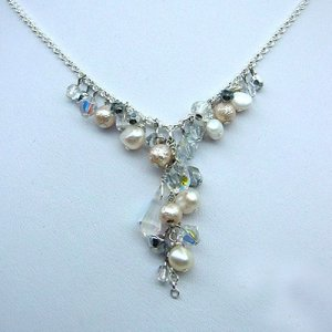 Ice Blue and Pearl Bridal Necklace by Edita