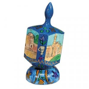 Large Hand Painted Wood Dreidel on Stand, Jerusalem Vistas - Yair Emanuel