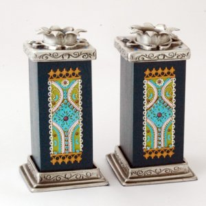 Ester Shahaf Black and Turquoise Candlesticks