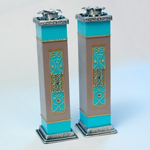 Pewter and Wood Turquoise Candlesticks - Shahaf