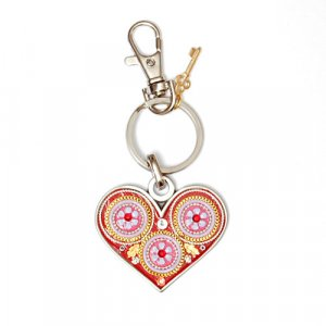 Red Heart with Flower Keychain by Shahaf
