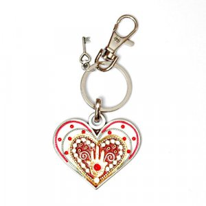 Red Heart with Hamsa keychain - Ester Shahaf