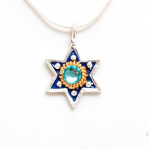 Ester Shahaf Blue Star of David Pendant