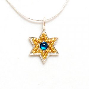 Majestic Blue-Gold Color Star of David Necklace - Shahaf