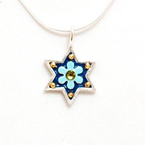 Magen David Necklace with Blue Flower - Shahaf