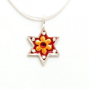 Orange flower Star of David Pendant - Shahaf