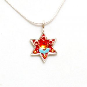 Magen David Red-Blue Flower Pendant by Shahaf