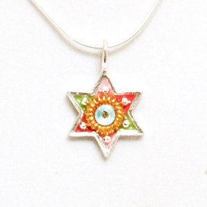 Silver Multicolor Star of David Pendant - Ester Shahaf